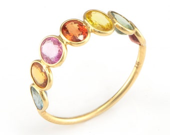 Multi Sapphire Ring, 18k Solid Gold Ring, Engagement Ring, Eternity Ring, Sapphire Colorful Band, Ring For Women, Multi Gemstone Ladies Ring