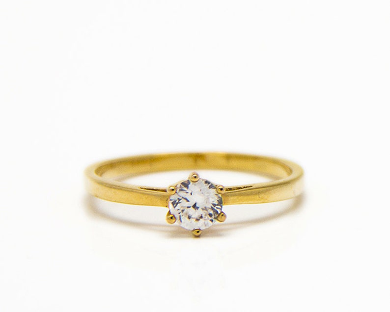 Free Shipping A solitaire engagement ring gold ring zircon ring- Minimalist style