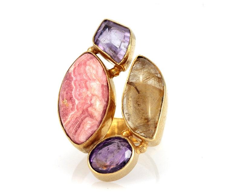 Big gemstone ring amethyst 18k gold plated gemstone ring Statement ring- Free Shipping Rhodochrosite Rutile Quartz