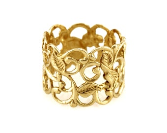Wide band 14k gold lace ring - 14k gold wedding band ring- Free Shipping