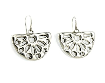 Fan shape Electroformed Dangle earrings - Ethnic style Silver Earrings - Lace Silver Earrings - Free Shipping