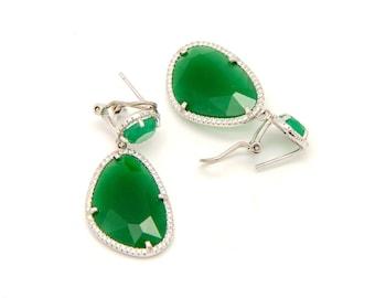 Green crystal and Silver dangle earrings - Green Swarovski and zircon earrings - Crystal statement earrings - Wedding jewelry- Free Shipping