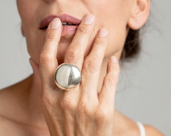 Handcrafted Dome Ring, Sterling Silver Ring, Large Silver Ring, Chunky Circle Ring, Electroform Jewelry, Sterling Silver Boho Ring for Women
