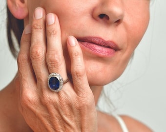Bride Ring, Blue Oval Sapphire Ring, Large Sapphire Engagement Ring, Unique Cocktail Ring, Vintage Wedding Ring For Women, Gifts For Women