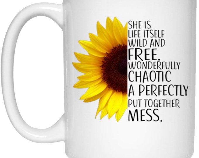 She's Wild and Free White Mug