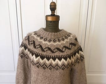 Free shipping Vintage Bespoke Custom Hand knit Fair Isle Wool sweater
