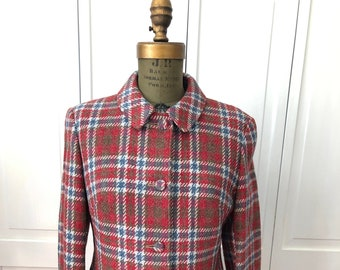 Vintage 60s 70s blazer jacket in Scottish wool plaid by Gala Forest.