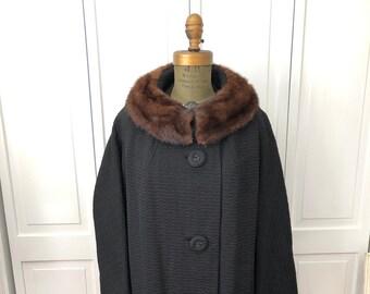 Vintage 60s Forstmann Black textured swing coat with mink collar. XL