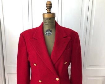 Vintage 70s 80s Ralph Lauren fully lined wool red blazer. Made in USA