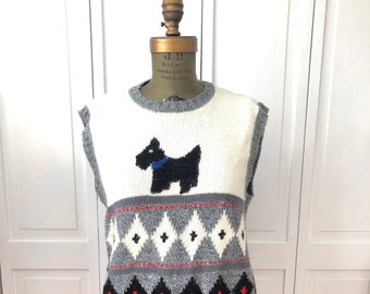 Vintage 80s Scotty Dog vest wool blend from Northern Isles