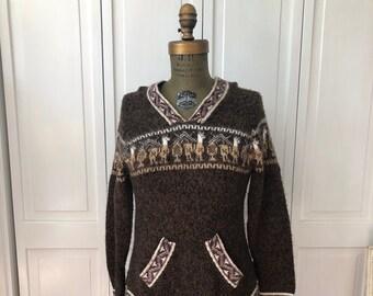 Vintage 90s Alpaca blend pullover hoodie with fringe