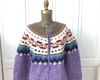 Vintage 80s/90s heavyweight wool zip front cardigan from Ecuador.