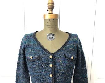Vintage 80s Betsey Johnson cardigan in multicolored acrylic yarn.