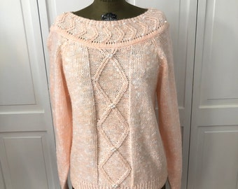 Vintage 80s Spice of Life Peach Pastel pullover sweater with seen on faux pearls.