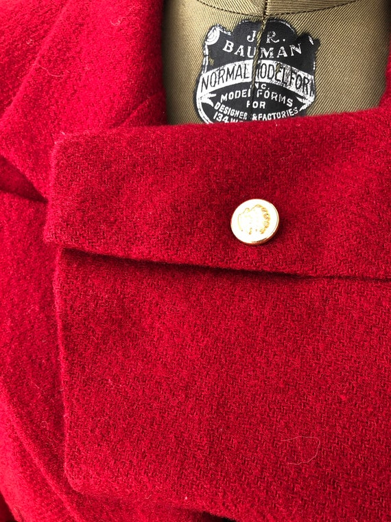 Vintage 70s 80s Ralph Lauren fully lined wool red… - image 3