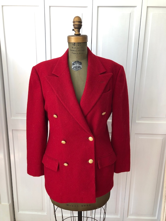 Vintage 70s 80s Ralph Lauren fully lined wool red… - image 1