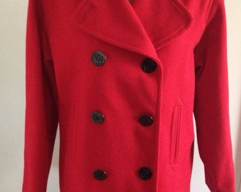 Beautiful red double breasted pea coat. 1980s