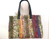 Pure Silk Tote Bag, Silk Chiffon Shoulder Bag, Handmade Fabric Bag, Leather Straps, One Of A King Bag, Christmas Gift