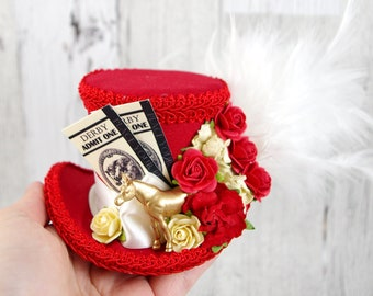 Red and Cream Kentucky Derby Horse, Tickets, and Roses Small Mini Top Hat Fascinator, Alice in Wonderland, Mad Hatter Tea Party