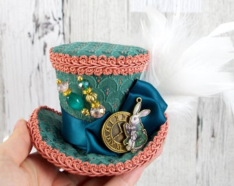 Green and Pink White Rabbit Clock Small Mini Top Hat Fascinator, Alice in Wonderland, Mad Hatter Tea Party, Derby Hat