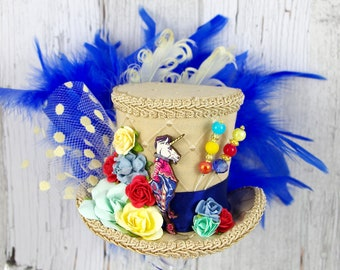 Beige Blue and Yellow Unicorn Guard Cutout Medium Mini Top Hat Fascinator, Alice in Wonderland, Mad Hatter Tea Party