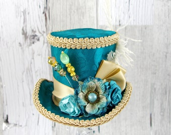 Teal and Tan Paper Flower Medium Mini Top Hat Fascinator, Alice in Wonderland, Mad Hatter Tea Party, Derby Hat