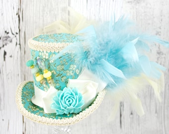 Blue-Green and Cream Resin Flower Medium Mini Top Hat Fascinator, Alice in Wonderland, Mad Hatter Tea Party, Derby Hat