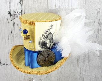 White Rabbit Illustration Gold and Antique Blue Large  Mini Top Hat Fascinator, Alice in Wonderland, Mad Hatter Tea Party, Derby Hat