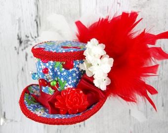 Red, Blue, and White Resin Flower Medium Mini Top Hat Fascinator, Alice in Wonderland, Mad Hatter Tea Party, Derby Hat