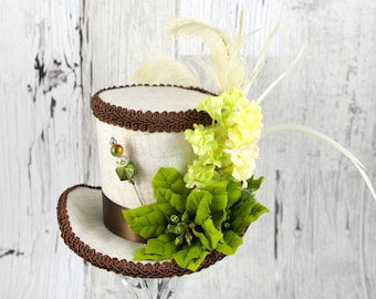 Off-White, Brown, and Green Poinsettia Medium Mini Top Hat Fascinator, Alice in Wonderland, Mad Hatter Tea Party, Derby Hat, Victorian