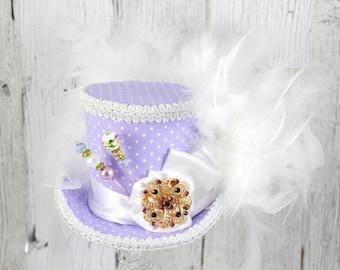 Lavender Purple and White Polka Dot Rosette Medallion Medium Mini Top Hat Fascinator, Alice in Wonderland, Mad Hatter Tea Party, Derby Hat