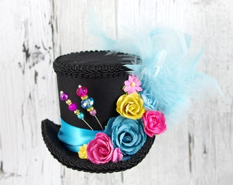 Black, Aqua, Pink, and Yellow Paper Flower Medium Mini Top Hat Fascinator, Alice in Wonderland, Mad Hatter Tea Party, Derby Hat