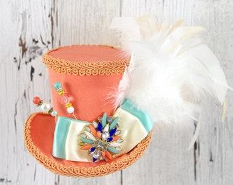 Orange, Mint, and Cream Medium Mini Top Hat Fascinator, Alice in Wonderland, Mad Hatter Tea Party, Derby Hat