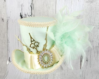 Mint Green and Cream Steampunk Empress Collection Large Mini Top Hat Fascinator, Alice in Wonderland, Mad Hatter Tea Party, Derby Hat