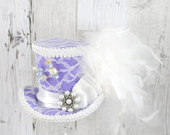 Lavender and White Lace Medium Mini Top Hat Fascinator, Alice in Wonderland, Mad Hatter Tea Party, Derby Hat