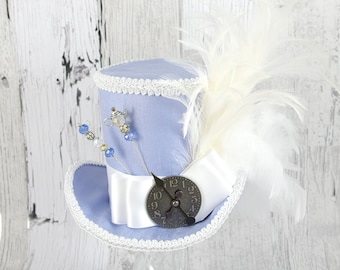 Light Blue and White Steampunk Empress Collection Large Mini Top Hat Fascinator, Alice in Wonderland, Mad Hatter Tea Party, Derby Hat