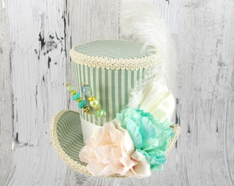 Blue-Green, Pink and Cream Striped Flower Garden Large Mini Top Hat Fascinator, Alice in Wonderland, Mad Hatter Tea Party, Derby Hat