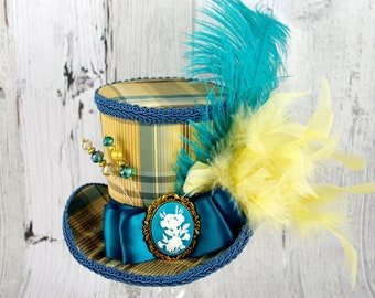 Teal and Golden Yellow Plaid Flower Cameo Empress Collection Large Mini Top Hat Fascinator, Alice in Wonderland, Mad Hatter Tea Party, Derby