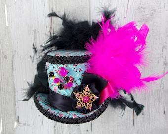 Aqua, Pink, and Black Rosette Medallion Medium Mini Top Hat Fascinator, Alice in Wonderland, Mad Hatter Tea Party, Derby Hat