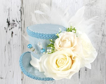 Blue and Ivory Rose Flower Garden Medium Mini Top Hat Fascinator, Alice in Wonderland, Mad Hatter Tea Party, Derby Hat
