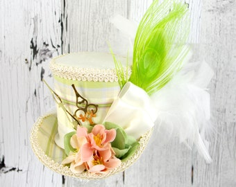 Cream Green and Pink Plaid Flower Clockwork Medium Mini Top Hat Fascinator, Alice in Wonderland, Mad Hatter Tea Party, Derby Hat