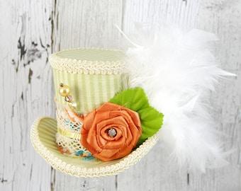 Light Green Striped and Orange Rosette Medium Mini Top Hat Fascinator, Alice in Wonderland, Mad Hatter Tea Party, Derby Hat