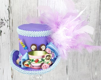 Dormouse Light Purple and Blue Teacup Cutout Medium Mini Top Hat Fascinator, Alice in Wonderland, Mad Hatter Tea Party