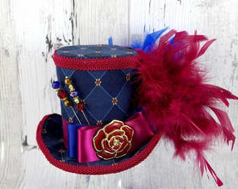 Navy Blue and Wine Red Rose Medallion Large Mini Top Hat Fascinator, Alice in Wonderland, Mad Hatter Tea Party, Derby Hat