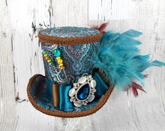 Teal and Brown Damask Empress Collection Mini Top Hat Fascinator, Alice in Wonderland, Mad Hatter Tea Party, Derby Hat