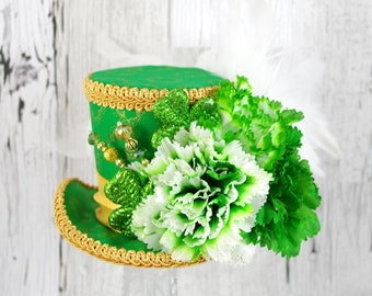 St Patrick's Day Green and Gold Glitter Shamrock and Flower Medium Mini Top Hat Fascinator, Alice in Wonderland, Mad Hatter Tea Party