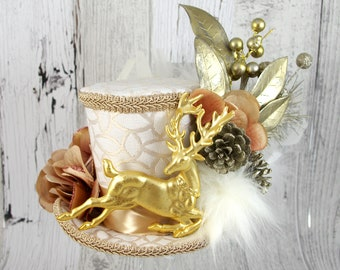 White, Gold, and Rose Reindeer Forest Large Mini Top Hat Fascinator, Alice in Wonderland, Mad Hatter Tea Party, Christmas Hat, Derby Hat