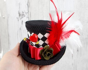 Queen of Hearts - Red, Black, and White Harlequin Small Mini Top Hat Fascinator, Alice in Wonderland, Mad Hatter Tea Party, Derby Hat