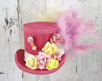 Pink and Yellow Paper Flower Medium Mini Top Hat Fascinator, Alice in Wonderland, Mad Hatter Tea Party, Derby Hat