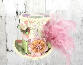 Cream, Pink, and Green Floral Patterned Large Mini Top Hat Fascinator, Alice in Wonderland, Mad Hatter Tea Party, Derby Hat